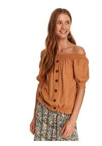 TOP SECRET - Bluzka z odkrytymi ramionami i guzikami. Kolor: brązowy