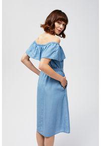 Niebieska sukienka MOODO boho, na plażę, z dekoltem w łódkę, trapezowa