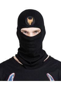 ROBERT KUPISZ - Czarna czapka kominiarka NOW. Kolor: czarny. Materiał: bawełna. Wzór: aplikacja. Sezon: zima. Styl: sportowy