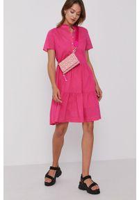 TOMMY HILFIGER - Tommy Hilfiger - Sukienka. Kolor: różowy. Materiał: tkanina. Długość rękawa: krótki rękaw. Wzór: gładki. Typ sukienki: rozkloszowane