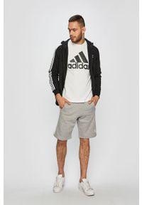 Czarna bluza rozpinana adidas Originals na co dzień, z kapturem, casualowa, z aplikacjami