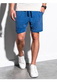 Niebieskie szorty Ombre Clothing klasyczne, krótkie, z aplikacjami