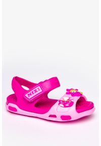 Casu - Różowe sandały piankowe na rzep z ozdobą casu nx517. Zapięcie: rzepy. Kolor: różowy. Wzór: aplikacja