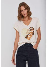 Mos Mosh - T-shirt bawełniany. Okazja: na co dzień. Kolor: beżowy. Materiał: bawełna. Wzór: nadruk. Styl: casual