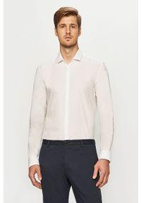 Biała koszula Hugo długa, elegancka, z włoskim kołnierzykiem