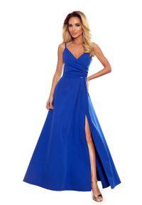 Niebieska sukienka wieczorowa Numoco na ramiączkach, z kopertowym dekoltem, kopertowa, maxi