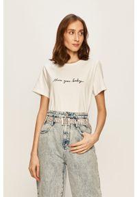 Biała bluzka Miss Sixty z aplikacjami, na co dzień