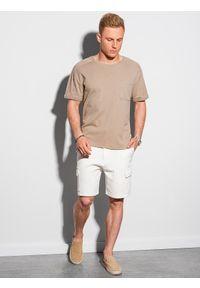 Ombre Clothing - T-shirt męski bawełniany S1386 - popielaty - XXL. Kolor: szary. Materiał: bawełna