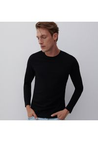 Reserved - Bluzka z długim rękawem Basic - Czarny. Kolor: czarny. Długość rękawa: długi rękaw. Długość: długie
