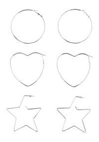 Komplet kolczyków (6 części) bonprix srebrny kolor
