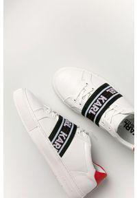 Białe sneakersy Karl Lagerfeld z okrągłym noskiem, z cholewką