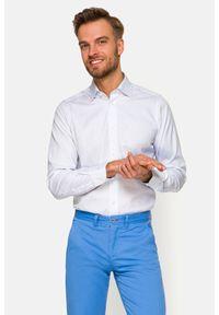Lancerto - Koszula Biała w Kratę Daisy. Kolor: biały. Materiał: bawełna, tkanina. Wzór: ze splotem. Styl: klasyczny
