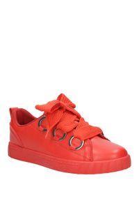 Casu - czerwone buty sportowe creepersy na platformie sznurowane casu ab-67. Kolor: czerwony. Materiał: skóra ekologiczna, materiał. Szerokość cholewki: normalna. Obcas: na platformie. Styl: sportowy