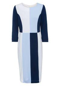 Biała sukienka bonprix elegancka, ołówkowa, w kolorowe wzory