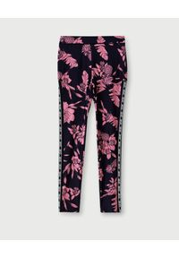 Liu Jo - LIU JO - Leginsy w różowe kwiaty. Kolor: czarny. Materiał: materiał. Wzór: kwiaty. Styl: sportowy
