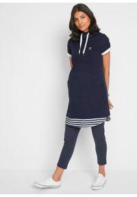 Sukienka ciążowa + legginsy ciążowe (2 części) bonprix ciemnoniebiesko-biały. Kolekcja: moda ciążowa. Kolor: niebieski