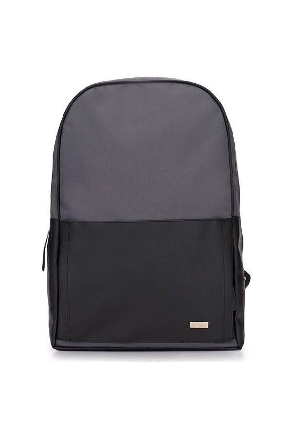 Męski plecak miejski na laptopa Solier SR01 FORRES szaro-czarny. Kolor: szary. Materiał: skóra ekologiczna. Styl: biznesowy
