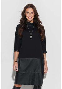 Makadamia - Czarna Kimonowa Dresowa Sukienka z Eko-skórą. Kolor: czarny. Materiał: dresówka, skóra