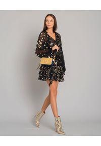 Złote botki Elisabetta Franchi na średnim obcasie, eleganckie, na karnawał