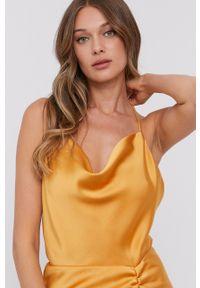 Samsoe & Samsoe - Samsoe Samsoe - Sukienka F21200139. Okazja: na co dzień. Kolor: pomarańczowy. Materiał: tkanina. Długość rękawa: na ramiączkach. Wzór: gładki. Typ sukienki: proste. Styl: casual #3