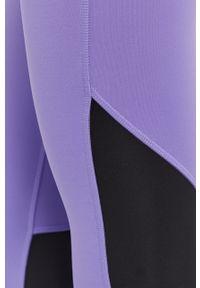 Fioletowe legginsy Reebok gładkie, z podwyższonym stanem
