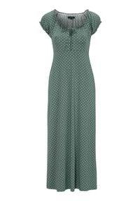 Happy Holly Sukienka maxi w kropki Tessie zielony złamana biel female zielony/biały 44/46. Kolor: biały, zielony, wielokolorowy. Materiał: tkanina, jersey. Długość rękawa: krótki rękaw. Wzór: kropki. Długość: maxi