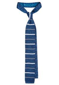 Niebieski krawat Lancerto w paski, casualowy, na zimę, na co dzień