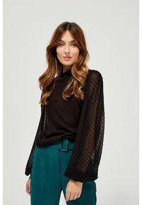 MOODO - Sweter z bufiastymi rękawami. Materiał: wiskoza, poliamid, elastan. Długość rękawa: długi rękaw. Długość: długie. Wzór: gładki