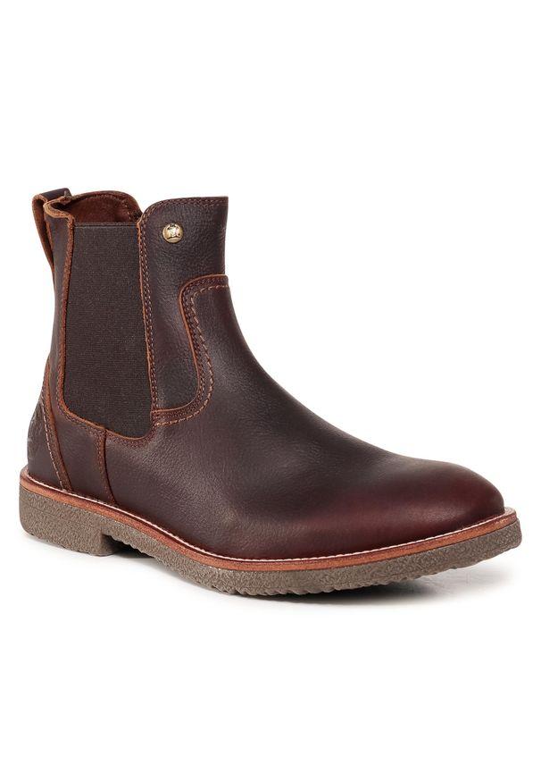 Brązowe buty zimowe Panama Jack eleganckie, z cholewką