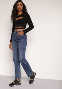 Renee - Niebieskie Jeansy Straight Echora. Stan: podwyższony. Kolor: niebieski. Długość: długie. Wzór: aplikacja. Styl: elegancki, rockowy