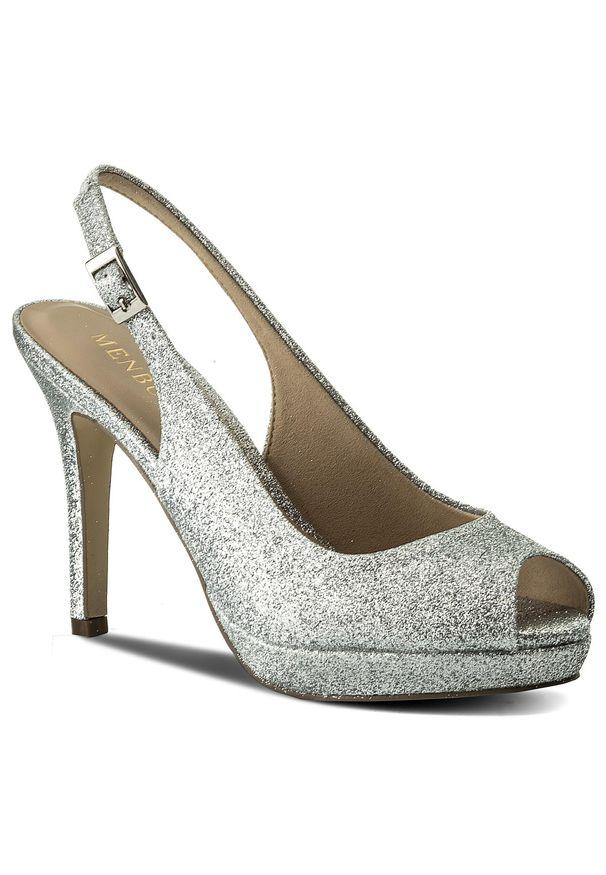 Srebrne sandały Menbur z aplikacjami, eleganckie