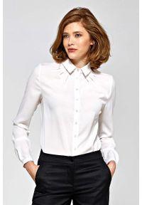 Nife - Ecru Koszulowa Bluzka z Zakładkami. Materiał: poliester, elastan