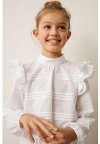 Biała bluzka Mango Kids gładkie, długa, na co dzień, ze stójką