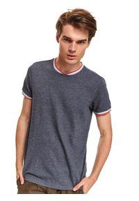 Niebieski t-shirt TOP SECRET w kolorowe wzory, krótki, z krótkim rękawem, na jesień