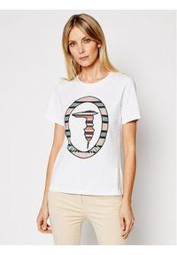Trussardi Jeans - Trussardi T-Shirt 56T00371 Biały Regular Fit. Kolor: biały