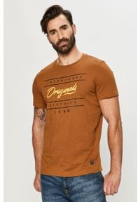 Brązowy t-shirt Jack & Jones z nadrukiem, casualowy, na co dzień