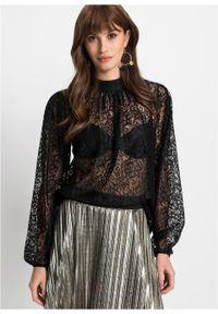 Czarna bluzka bonprix elegancka, w koronkowe wzory