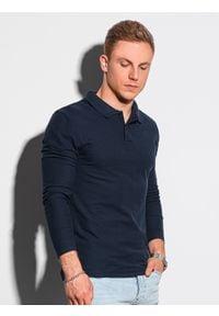 Ombre Clothing - Longsleeve męski bez nadruku L132 - granatowy - XXL. Typ kołnierza: polo. Kolor: niebieski. Materiał: bawełna, jeans, materiał. Długość rękawa: długi rękaw. Wzór: ze splotem