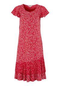 Cellbes Wzorzysta sukienka z dżerseju we wzory z falbankami czerwony biały w kwiaty female czerwony/biały/ze wzorem 58/60. Typ kołnierza: kołnierz z falbankami. Kolor: biały, wielokolorowy, czerwony. Materiał: jersey. Wzór: kwiaty