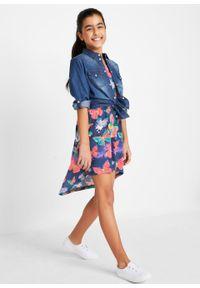 Sukienka letnia dziewczęca bonprix niebieski z nadrukiem. Kolor: niebieski. Wzór: nadruk. Sezon: lato