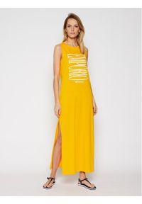 Żółta sukienka letnia Emporio Armani na plażę