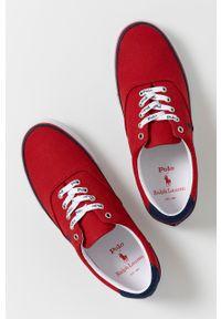 Polo Ralph Lauren - Tenisówki. Nosek buta: okrągły. Zapięcie: sznurówki. Kolor: czerwony. Materiał: guma