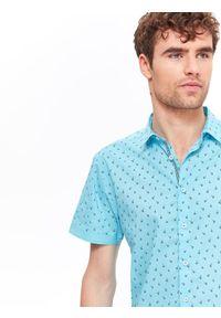Turkusowa koszula TOP SECRET elegancka, z nadrukiem, krótka, na jesień