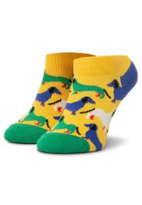 Żółte skarpetki Happy-Socks w kolorowe wzory