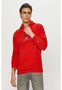 Tommy Jeans - Bluza. Okazja: na co dzień. Kolor: czerwony. Materiał: bawełna. Wzór: aplikacja. Styl: casual