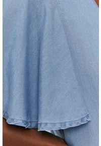Vero Moda - Kombinezon. Okazja: na co dzień. Kolor: niebieski. Materiał: tkanina, lyocell, jedwab, materiał. Długość rękawa: krótki rękaw. Długość: krótkie. Wzór: gładki. Styl: casual