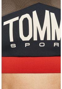 Niebieski biustonosz sportowy Tommy Sport z odpinanymi ramiączkami, z nadrukiem