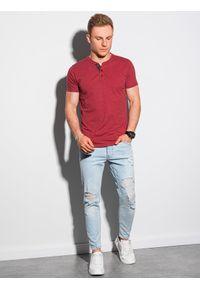 Ombre Clothing - T-shirt męski bez nadruku S1390 - czerwony - XXL. Typ kołnierza: polo. Kolor: czerwony. Materiał: bawełna, jeans, poliester #3