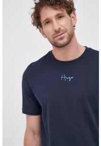 Hugo - T-shirt bawełniany. Okazja: na co dzień. Kolor: niebieski. Materiał: bawełna. Wzór: aplikacja. Styl: casual
