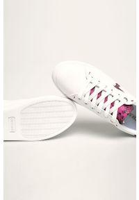 Białe buty sportowe Trussardi Jeans na sznurówki, z cholewką, z okrągłym noskiem, na obcasie